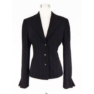 Escada Black Brown Pinstripe Jacket Blazer Size 36